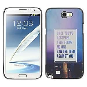 X-ray Impreso colorido protector duro espalda Funda piel de Shell para SAMSUNG Galaxy Note 2 II / N7100 - Text Motivational Quote Purple