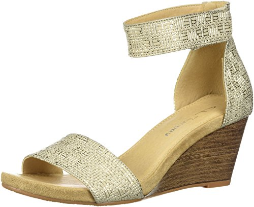 CL by Chinese Laundry Women's HOT Zone Wedge Sandal, Gold/Metallic, 6.5 M US - Wedge Sandal Metallic