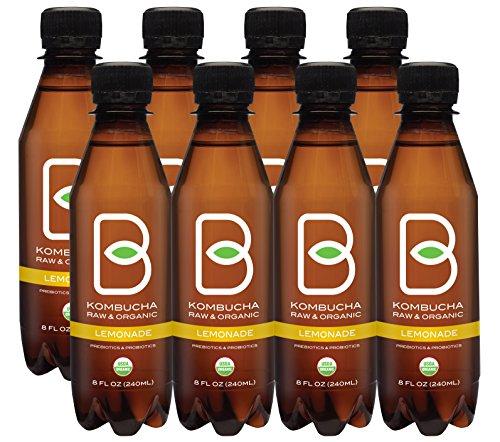 Kombucha Raw Organic Tea, Only 2g of Sugar, Probiotics & Prebiotic, Promotes Healthy Weight Loss, Kosher, Pack of 6 (B-tea Lemonade, 8 pack x 8 oz)