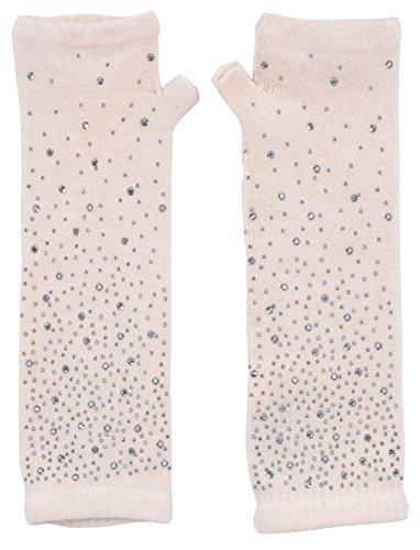 Simplicity Women Winter White Long Knit Fingerless Gloves with - Warm Undertone Skin
