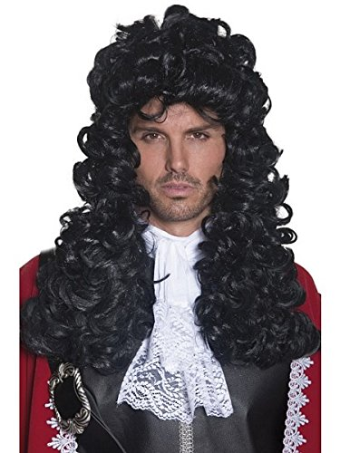 Smiffy's Men's Long and Curly Black Pirate Captain Wig, One Size, 5020570420416 Pirate Captain Costume