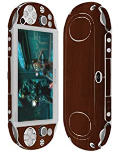 Skinomi® TechSkin - Sony PS Vita PCH-2000 Screen Protector + Dark Wood Full Body Skin / Front & Back Premium HD Clear Film / Ultra Invisible and Anti Bubble Shield with Free Lifetime Replacement
