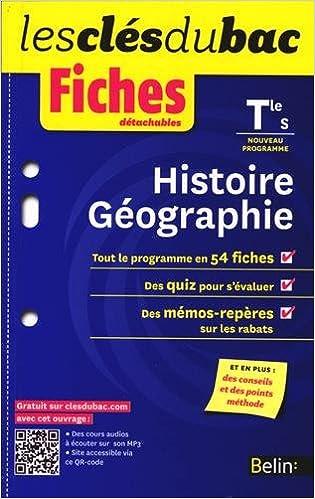 Livres en ligne télécharger pdf Histoire-Géographie Tle S : Fiches détachables PDF 2701190169 by