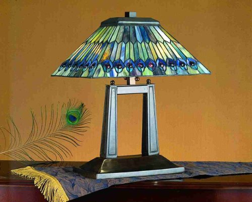 Tiffany Jeweled Peacock Oblong Table Lamp