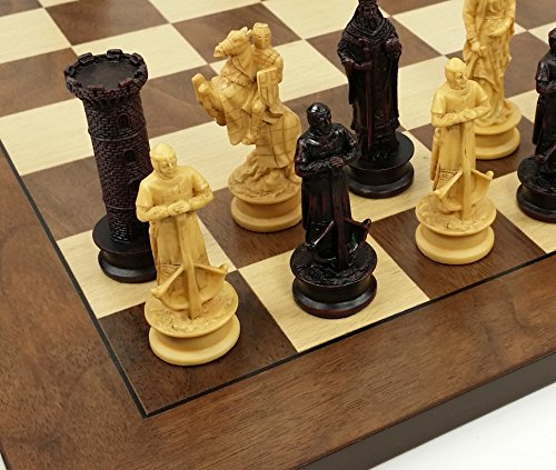 HPL Medieval Times King Richard The Lionheart Knights Antique Color Chess Men Set W/ 17