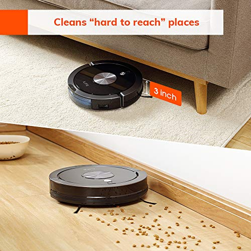 ILIFE A9 Robot Vacuum, Mapping, Wi-Fi, Cellular Dustbin, Strong Suction, 2-in-1 Roller Brush, Self-Charging, Slim and Quiet, Compatible with Alexa, Ideal for Hard Floors to Medium-Pile Carpets.