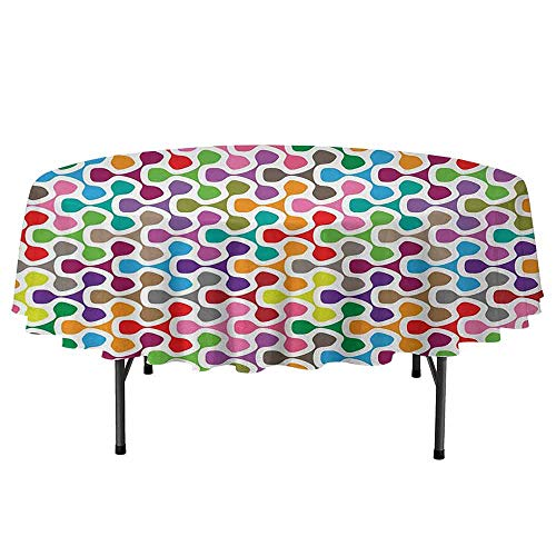 Douglas Hill Colorful Waterproof Anti-Wrinkle no Pollution Colorful Patterns with Curves Geometry Cheering Creative Ornamental Artful Design Round Tablecloth D35 Inch Multicolor