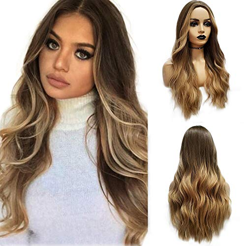 Long Wavy Brown ombre Blonde Wigs Cosplay Party Wig for Black Women Afro High Temperature Fiber Synthetic Hair Wigs