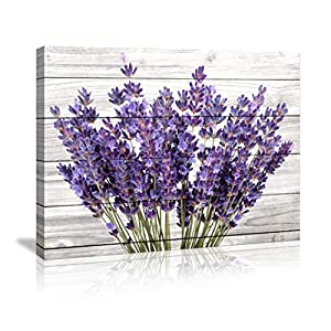Modern Artwork Purple Lavender Wall Decor Canvas Wall Art Retro Paintings Style Purple Lavender Flowers Picture on White…