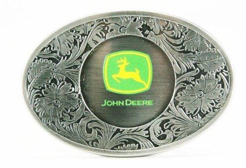 John Deere Pewter Western Style Logo Belt - Buckles John Deere