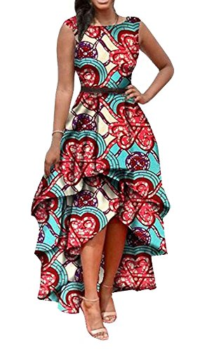 Faaaashion Women's African Fashion Printed Sleeveless A-line Party Dress
