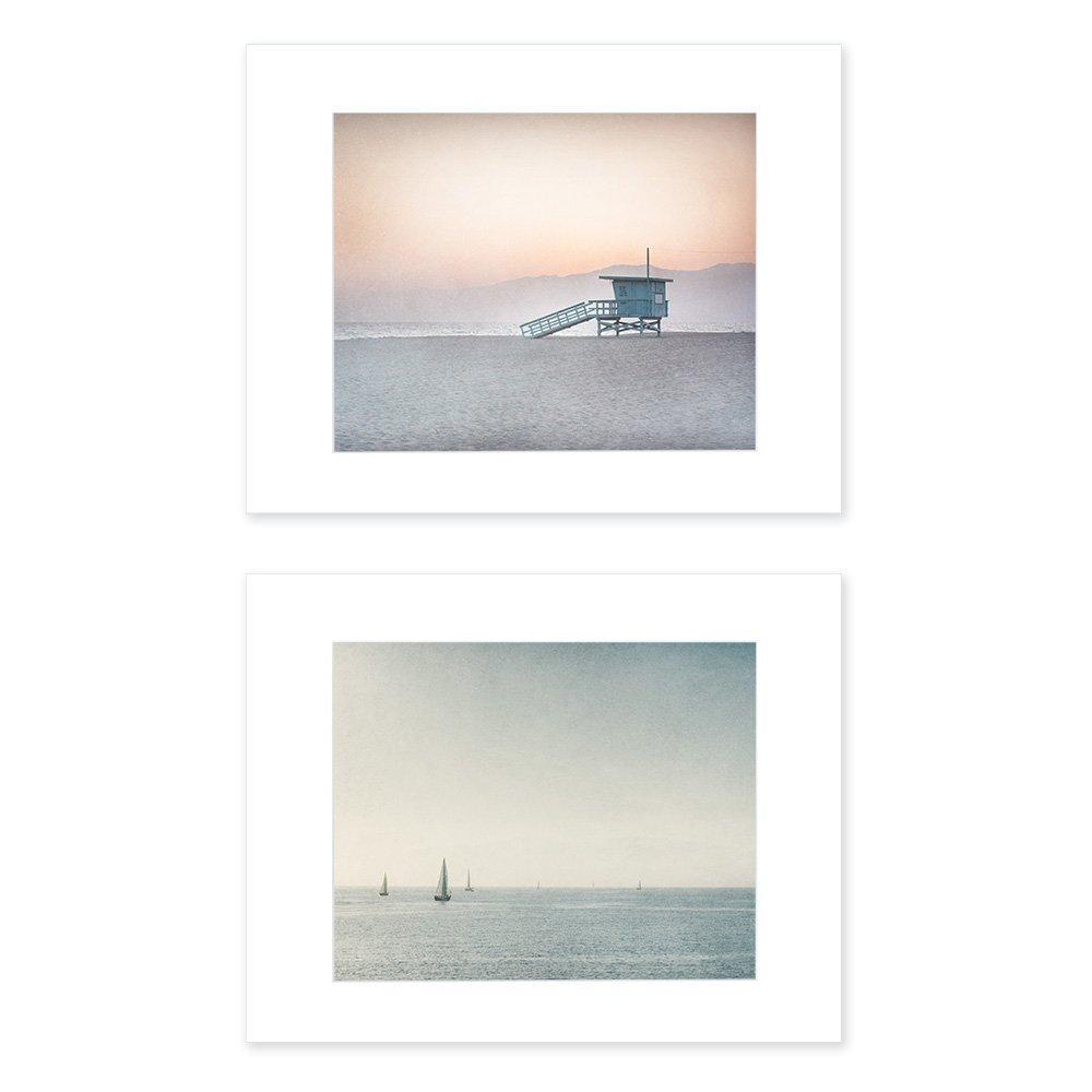 Set of 2 8x10 inch Matted Prints Venice Beach Wall Art Blue Los Angeles Coastal Decor 'Land and Sea'