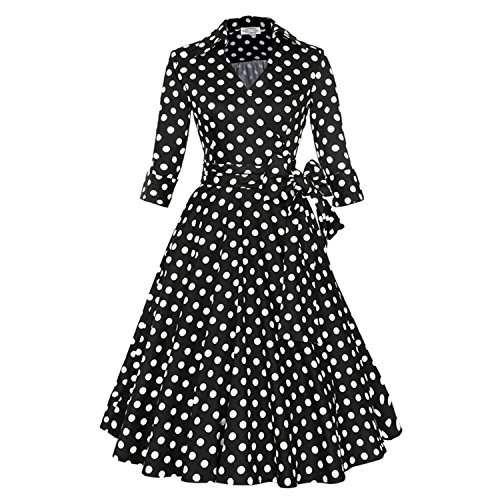 [Sicong2 Up-to-Date style Spring Autumn Vintage Dress Plus Size S~4XL Belts Retro 60s Rockabilly Party Swing Cuff Sleeves Feminino Vestidos Black potS] (60s Dress Up Ideas)