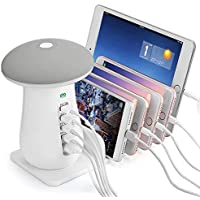 DEZIINE® 5-Port USB Charging Stand Organizer with Mushroom LED Table lamp, 3.0 Fast Charging, Multiple USB Charger Stations for Smartphones, Tablets.