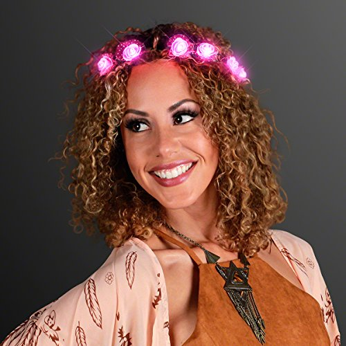 Hipster Princess Halloween Costume (Pink Rosebud LED Flower Halo Crown with Still Lighting (Set of 4))
