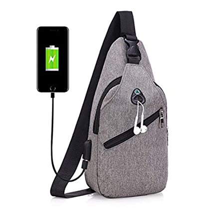 Amazon.com  Sling Bag with USB Charging Port Headphone Hole 162d90cb5f828