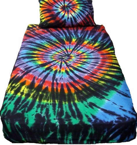 Stained Glass Spiral Tie Dye Sheet Set - Twin