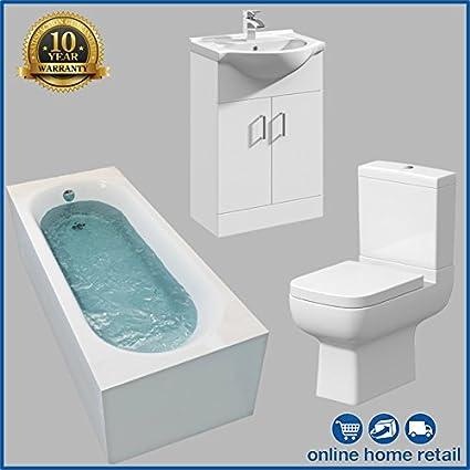Bathroom Suite 1700mm Bath 550mm Vanity Close Coupled WC Toilet Taps /& Wastes