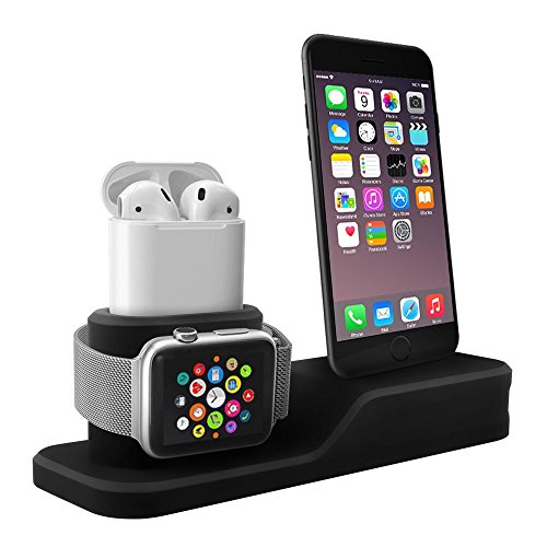 Apple watch charging stand 3 in 1 premium silicone charger dock station for iPhone X 8 Plus 8 7 Plus 7 6S Plus 6, Apple iwatch Series 3 2 1, AirPods(not include Lightning cable)