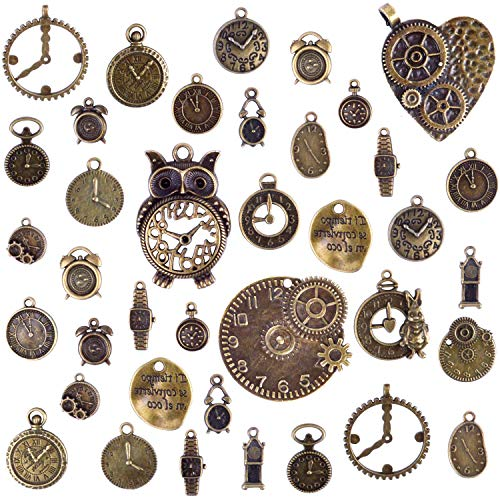 BronaGrand 100 Grams(Approx 38 Pieces) Mixed Clock Face Charms Steampunk Pendants Watch Charms for Bracelets, Necklaces, Jewelry and Crafts Making, Antique -