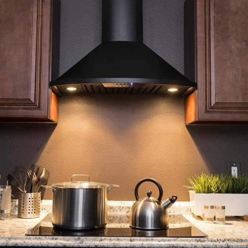 Golden Vantage 30 in. Convertible Kitchen Wall Mount Range Hood with Lights in Black Painted Stainless Steel