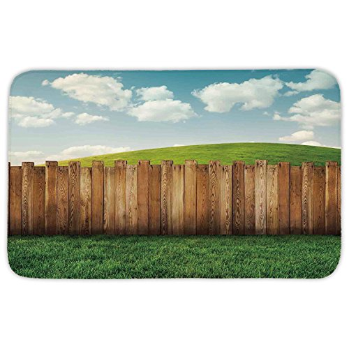 Rectangular Area Rug Mat Rug,Farm House Decor,Wooden Garden Fence on Grassland Pastoral Environment with Cloudy Sky,Green Brown,Home Decor Mat with Non Slip Backing by iPrint