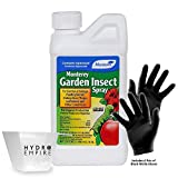 Monterey Garden Insect Spray Quart (32oz) with Spinosad Includes Nitrile Gloves and 4oz Measuring Cup - Insecticide for easy Pest Control of Garden Vegetables - Killer Spray Pesticide Concentrate