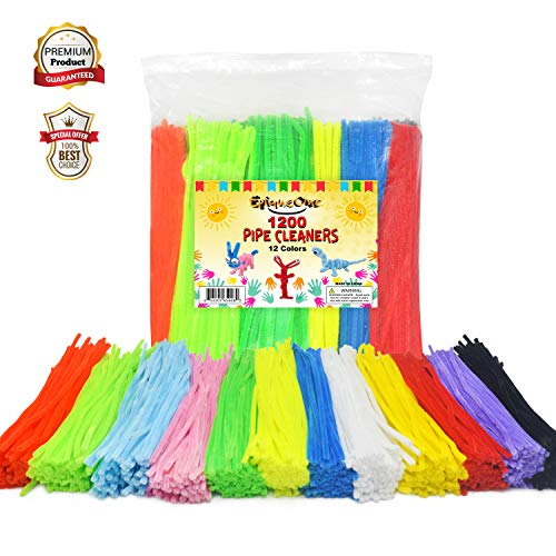 EpiqueOne 1200 Pipe Cleaners in 12 Assorted Colors 1000 Plus 200 Fluorescent Chenille Stem for Decorations DIY Arts and Crafts Projects Art Supplies for Adults and Kids ()