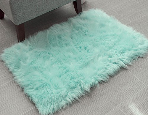 Super Area Rugs Soft Faux Fur Sheepskin Shag Silky Rug Baby Nursery Childrens Room Rug Mint Green, 4' x 6'