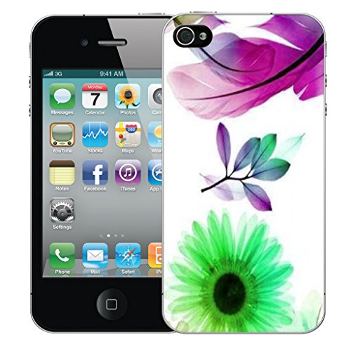 Mobile Case Mate iPhone 4 Silicone Coque couverture case cover Pare-chocs + STYLET - Purple Feather pattern (SILICON)