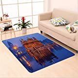 Nalahome Custom carpet en Temple At Night City Lights Holy Shrine Worship For Men And Women Equally Picture Blue Orange area rugs for Living Dining Room Bedroom Hallway Office Carpet (6.5' X 10')