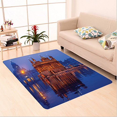 Nalahome Custom carpet en Temple At Night City Lights Holy Shrine Worship For Men And Women Equally Picture Blue Orange area rugs for Living Dining Room Bedroom Hallway Office Carpet (6.5' X 10') by Nalahome