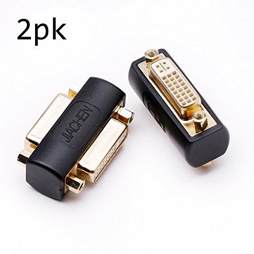 DVI coupler female to female gender changer bulkhead mount adapter (black gold plated) 2 Pack