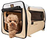 Pet Life Easy Folding' Zippered Folding Collapsible Wire Framed Lightweight Pet Dog Crate Carrier, X-Large, Khaki