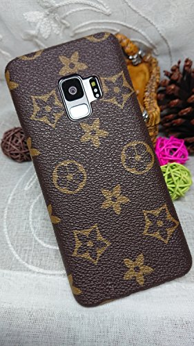 HeiL S9 TPU (Fast US Deliver Guarantee Fulfilled by Amazon) New Elegant Luxury PU Leather Monogram Pattern Classic Style Cover Case for Samsung Galaxy S9 S 9 ONLY (Brown Monogram)