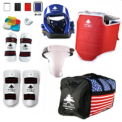 Pine Tree Complete Vinyl Martial Arts Sparring Gear Set with Bag, Shin, & Groin, Small White Headgear, Child Small Other Gears Female