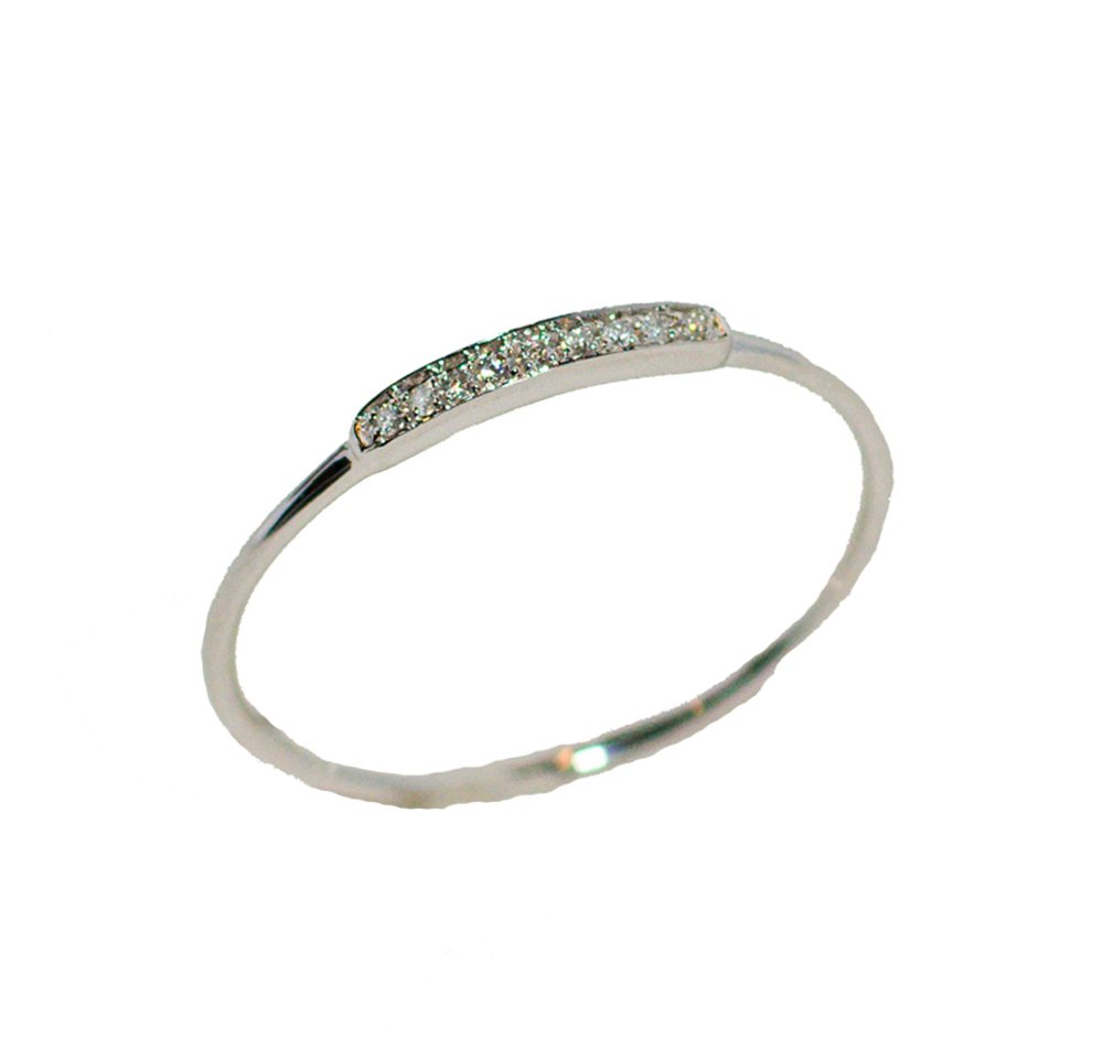 14K White Gold .04 ctw Diamond Thin Stackable Band Ring Size 7.5
