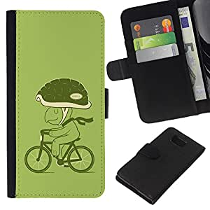 KingStore / Leather Etui en cuir / Samsung ALPHA G850 / Bicicleta Verde Estilo de vida Tortuga Eco Arte Casco