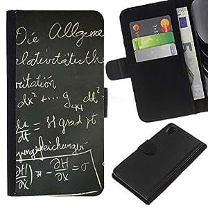 All Phone Most Case / Oferta Especial Cáscara Funda de cuero Monedero Cubierta de proteccion Caso / Wallet Case for Sony Xperia Z2 D6502 // Black Board School German Writing Letters