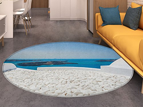 (Travel Dining Room Home Bedroom Carpet Floor Mat Hotel with White Stones Santorini Island Greece Landscape with Sea Art Non Slip rug Turquoise and White)