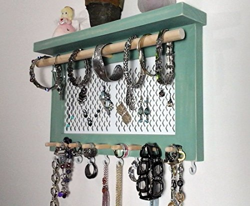 Jewelry Organizer Wall Mount Necklace Holder, Earring Holder, Bracelet & Ring Holder. All in One Wall Hanging Jewelry Organizer Display. Unique Gifts for Her.