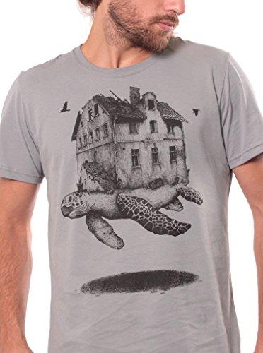 Street Habit Travelling Home Crew Neck T-Shirt for Men - Graphic Print Turtle Top - Original Illustration Urban Wear - in Grey - XL