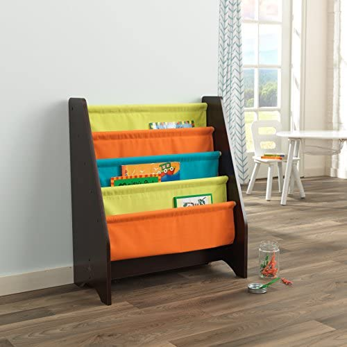 KidKraft Wooden Sling Shelf Bookcase - Bright Espresso Colors - Canvas Solid Pattern Fabric, Kids Bookshelf, Young Reader Support, Multi, 24 x 11.7 x 28.1 14235