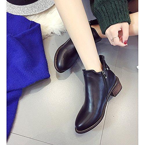 Botas invierno hebilla Gris Bootie mujer Black Zapatos primavera plano puntiagudo Casual polipiel HSXZ de negro botines Toe botines gwPfnxBBRq