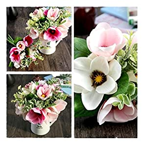Artificial Flower! Ecosin® Wedding Home Magnolia Silk 6 Flower Heads Camellia Magnolia Daisy Bouquet Room Decor 4