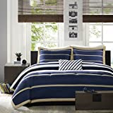 Mi-Zone Ashton King/Cal King Kids Bedding Sets for Boys - Navy, White, Stripes – 4 Pieces Boy Comforter Set – Ultra Soft Microfiber Kid Childrens Bedroom Comforters
