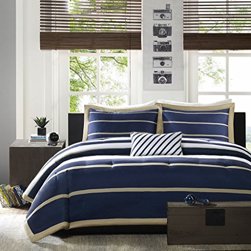 Mi-Zone Ashton King/Cal King Kids Bedding Sets for Boys - Navy, White, Stripes - 4 Pieces Boy Comforter Set - Ultra Soft Microfiber Kid Childrens Bedroom Comforters