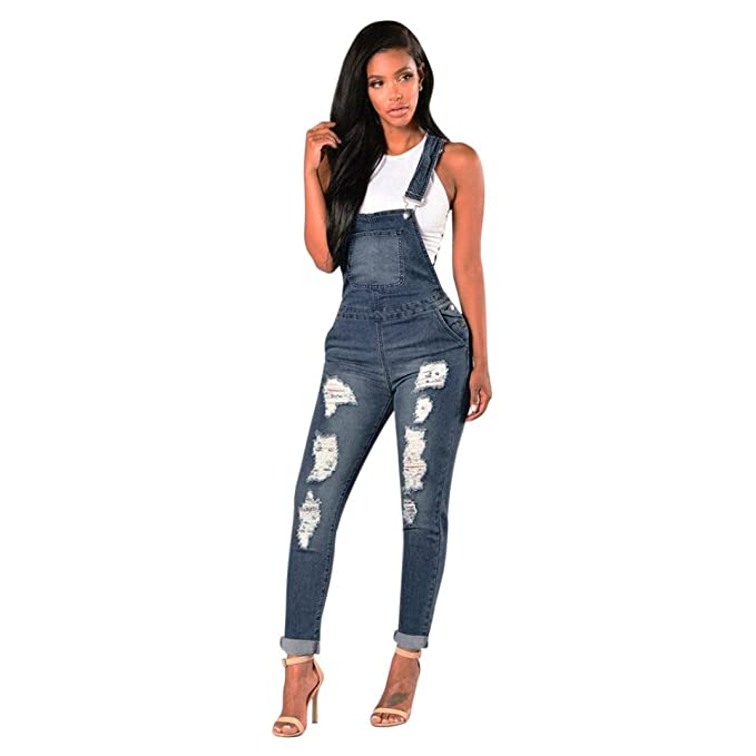 c5c04bc3caea Amazon.com  Ecurson Women Loose Denim Jeans Pants Ripped Overalls Jumpsuit  Rompers Trousers  Clothing