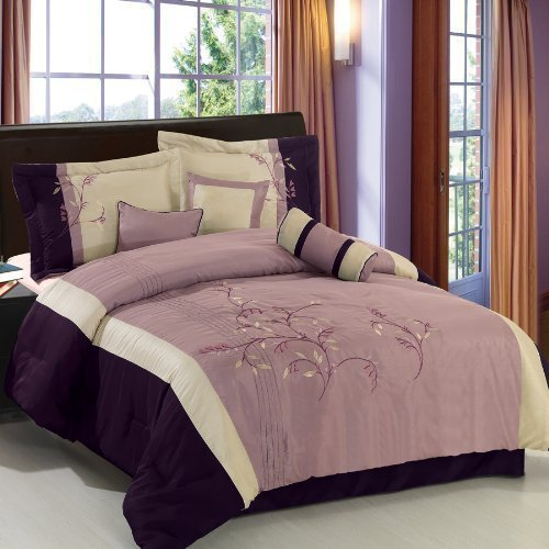 Santa Fe Purple/Ivory/Black King Size Luxury 7-Piece Comforter Set Including Comforter, Skirt, Throw Pillows and Pillow shams by Royal Hotel