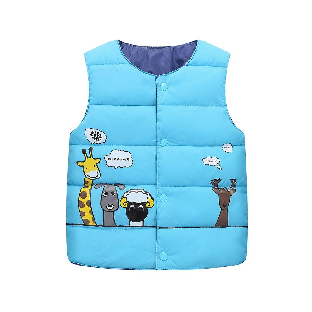 Toddler Boys Girls Padded Body Warmer Jacket Gilets Baby Infant Round Neck Button Up Vest Cartoon Animals Printed Kids Waistcoat Saihui
